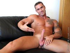Handsome hunk Manuel Santos naked masturbation movie gallery