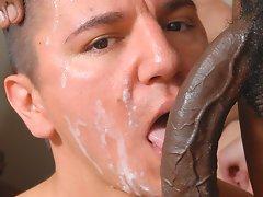 A hot facial from massive black dick after deep blowjob