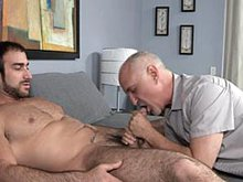 Older man Jake pleases a big hairy bear orally
