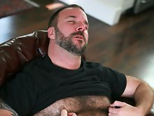 Furry bear Mark Bishop loves nothing more than to bottom for masculine, hairy, confident men. Mark's fantasy is to be gang banged by a group of 4