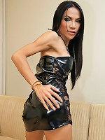 Hung and horny ladyboy unloads her balls
