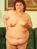 Pretty BBW Gaborne stripping off in front of two guys and take cock stuffing in her mouth and pussy live
