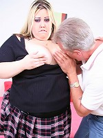Stockinged hog getting her tight cunt drilled on the couch
