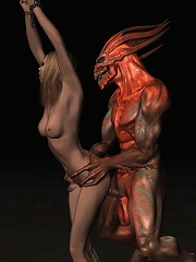 Baby Girl rides Goblin and gets double penetrated