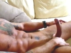 Nice long curved up cock masturbating. This beefy man is on my Christmas list.