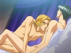 Gay hentai couple having hardcore licking sex in bedroom