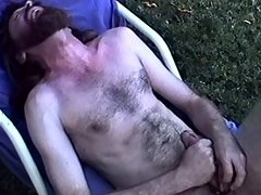 Cock ring on an old dick makes him cum