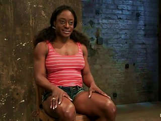 Muscled Ebony Girl Ashley Star Is Being D