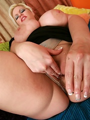Huge breasted blonde BBW fucks for cum!