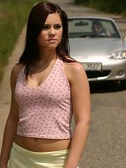 Brunette gets banged hard in a car