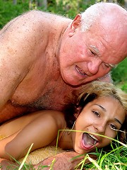 Grandpa bangs a skinny teen girl