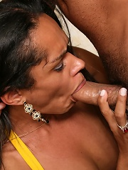 Black shemale gets her round ass fingered