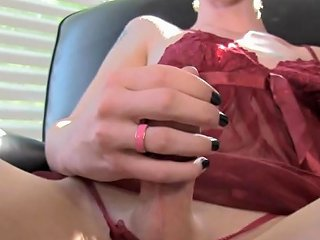 Skinny Amateur Tgirl Pulling Her Cock Solo Tranny Porn 24