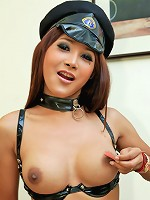 Stunning dome Thai ladyboy jerks off