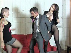 Goth Chick And Friend Break Her Boss Ballbusting