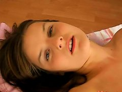 Good Looking Teen Slowly Strips And Masturbates On The Bed