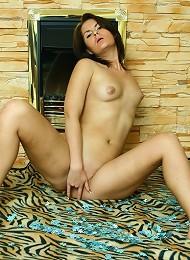 Smoking Hot Brunette Oleja Strips Nude By The Fireplace Teen Porn Pix