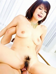Azumi Harusaki Asian with sperm on tits is nailed in hairy pussy
