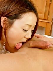 Rina Yuuki Asian gets one huge frigging after licking hard penis